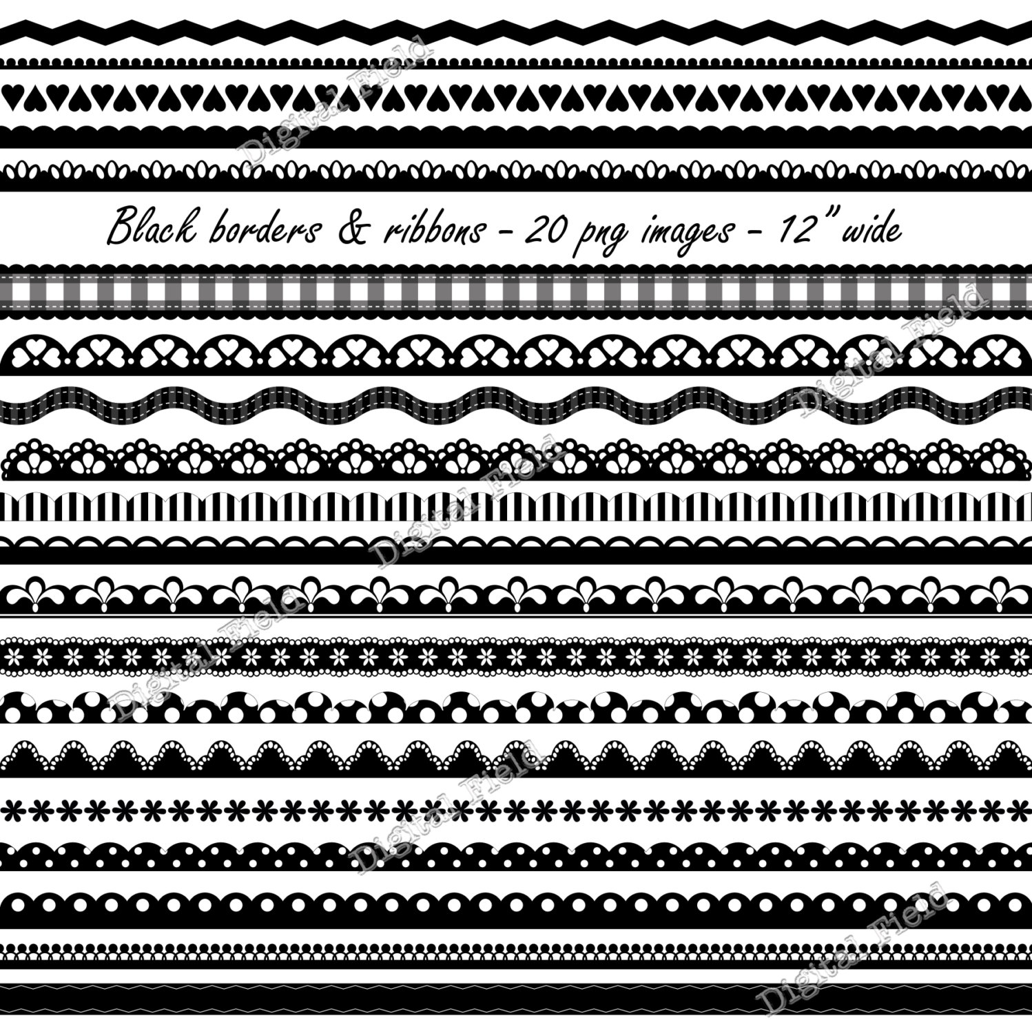 Black Borders And Ribbons Clip Art Set Scalloped By Digitalfield