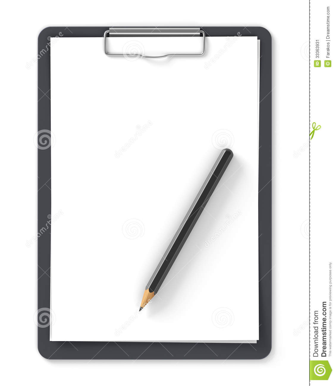 Black Clipboard With Blank Sheets Of Paper And Pencil Isolated On