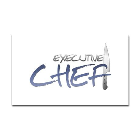 Blue Executive Chef Rectangle Decal On