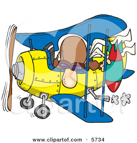 Bomber Man In A Biplane Preparing To Drop A Bomb Clipart Illustration