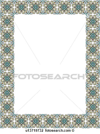 Clipart Of Teal And Brown Victorian Border U13719732   Search Clip Art