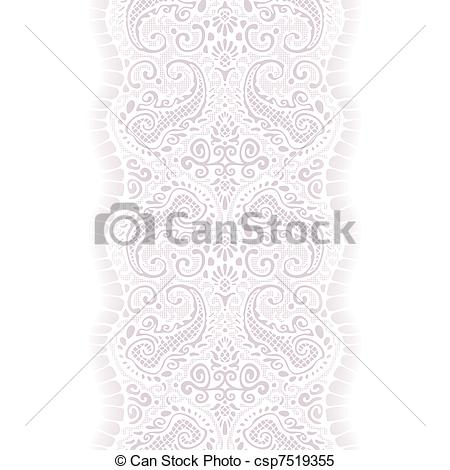 Clipart Vector Of White Lace Ribbon Seamless   Lace With Paisley