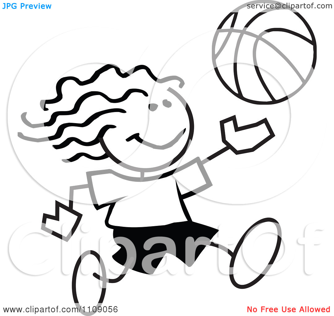 Girls Basketball Clipart Black And White Clipart Black And White