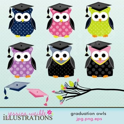 Graduation Owls Clipart Set Comes With 9 Cliparts Including  6 Cute
