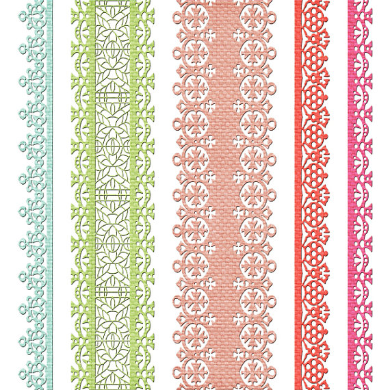 Items Similar To Digital Lace Borders Ribbon  Clipart  Rusteam On Etsy