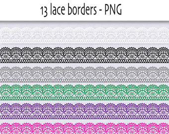 Lace Ribbon Clipart In Bright Colors Digital Border Lace Lace Clip