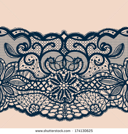 Lace Ribbon Seamless Pattern Template Frame Design Lace Doily