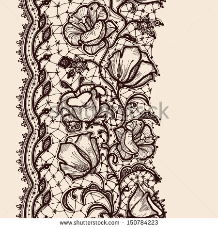 Lace Ribbon Vertical Seamless Pattern Stock Vector 150784223
