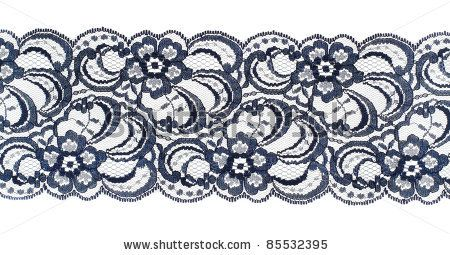 Lace Trim Ribbon Over White  Embroidered Fabric  Closeup By Inara