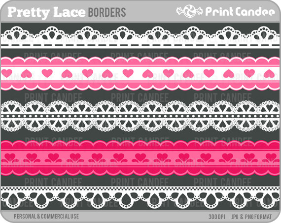 Pretty Lace Ribbons   Personal And Commercial Use   Digital Clipart