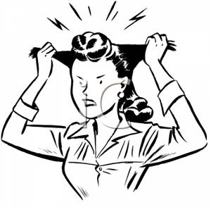 Pulling On Her Hair In Frustration   Royalty Free Clipart Picture