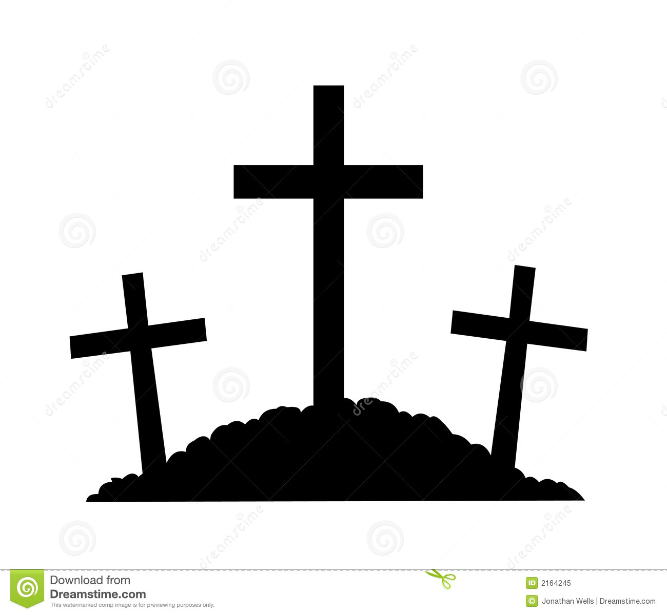 Silhouette Of The Crosses On Calvary