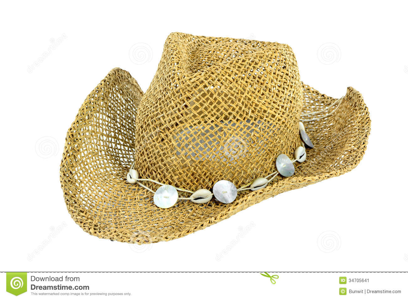 Straw Beach Hat Isolate Stock Image   Image  34705641