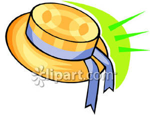 Straw Hat With A Ribbon   Royalty Free Clipart Picture