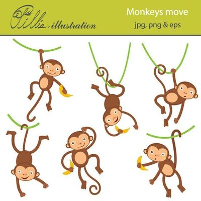 This Adorable Monkeys Move Clipart Set Comes With 6 Cliparts