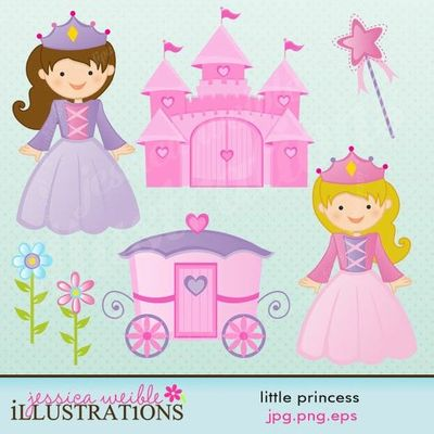This Little Princess Clipart Set Comes With 7 Cute Princess Graphics