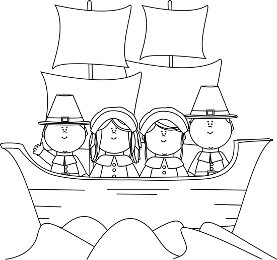 Black And White Pilgrims On The Mayflower   Black And White Outline Of