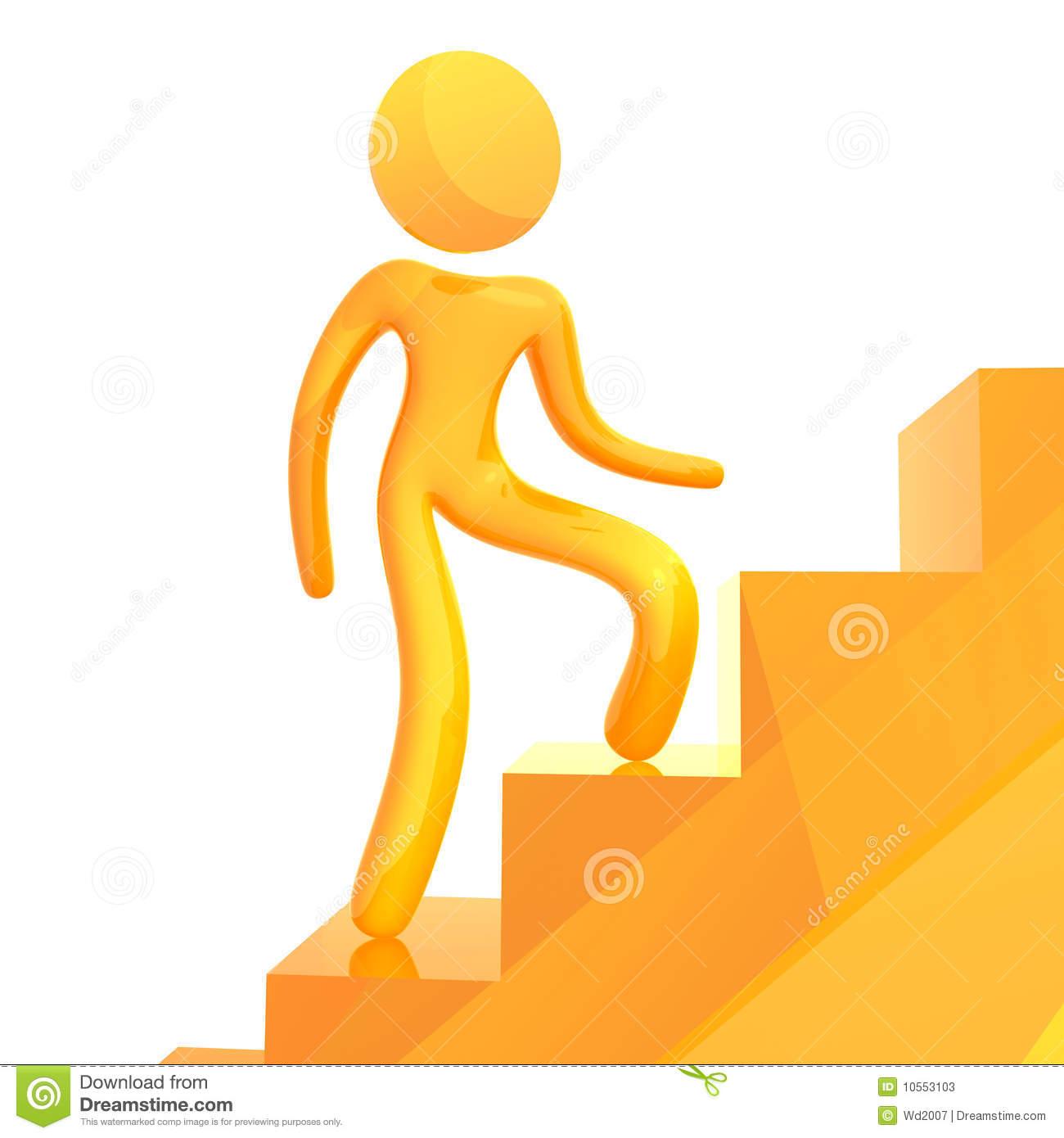 Boy Climbing Stairs Clipart