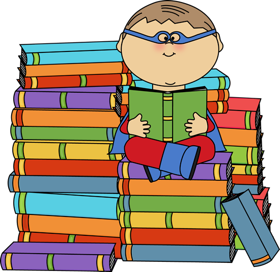 Boy Superhero Bookworm Clip Art Image   Boy Superhero Surrouned By