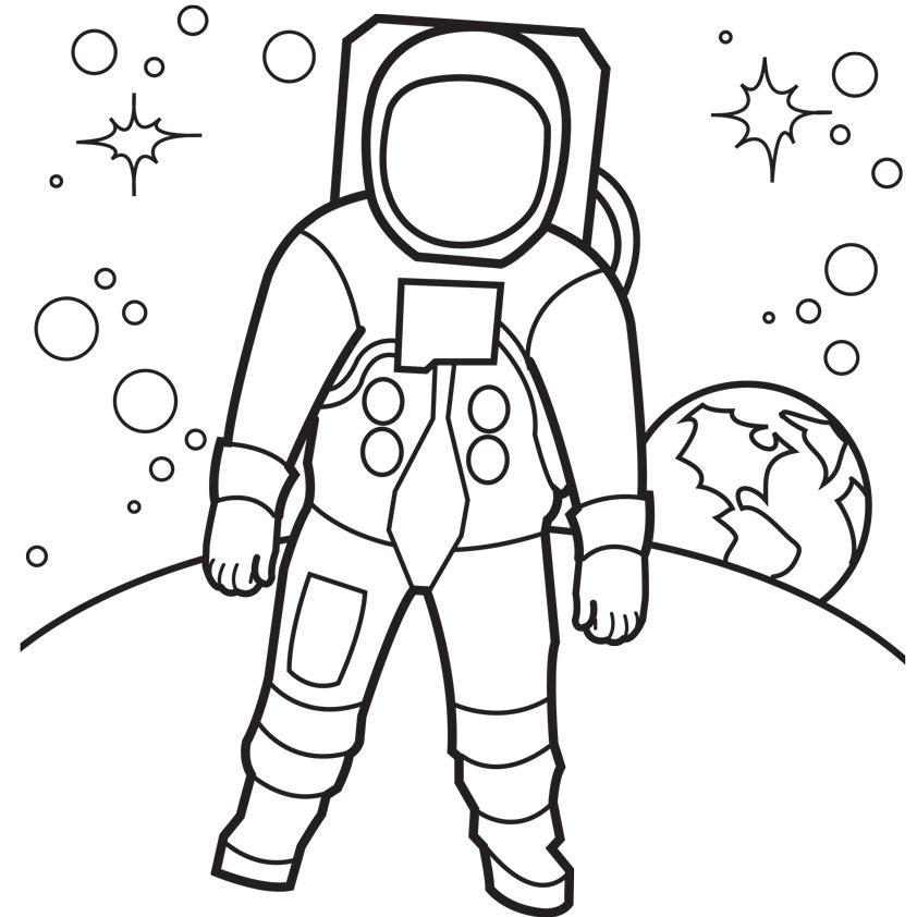 Cartoon Astronaut Outline Clipart - Clipart Kid