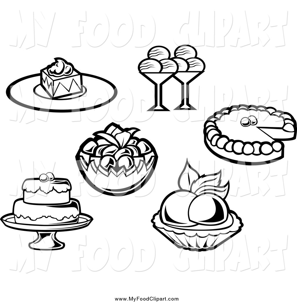 Dessert Black And White Clipart - Clipart Suggest