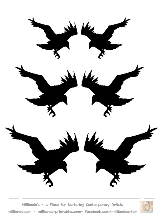 Crows flying clipart