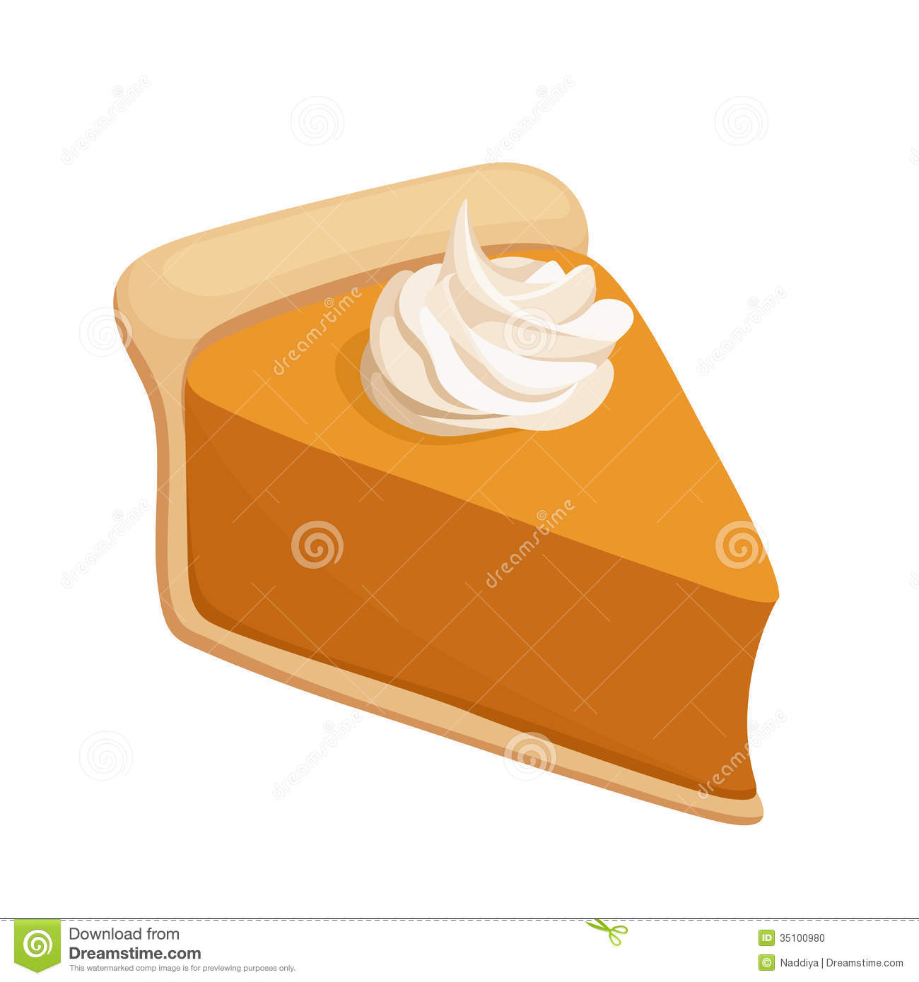 Illustration Of Slice Of Pumpkin Pie With Whipped Cream Isolated On A
