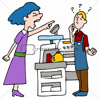 Image 3691545  Angry Customer Yelling At Cashier From Crestock Stock