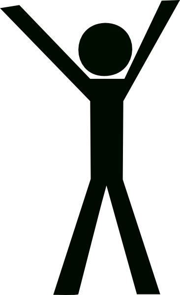 Stand Up Clipart Stick Guy Hands Up Black Hi Png
