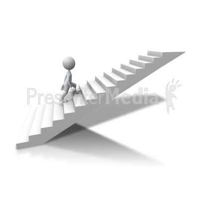 Stick Figure Climbing Up Stairs   Business And Finance   Great Clipart