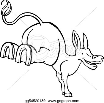 Stubborn Mule Cartoon Line Art  Clipart Drawing Gg54520139