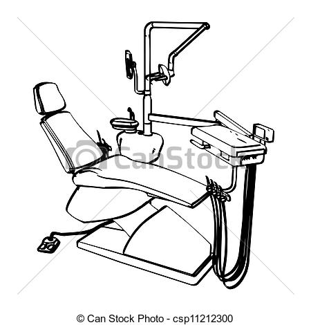 Vector Clipart Of Dentists Chair   Dentists Drill Chair Engraving