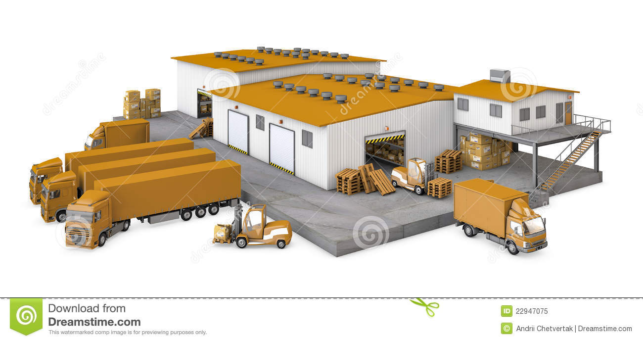 3d Illustration Of Infrastructure Warehouse With T Royalty Free Stock