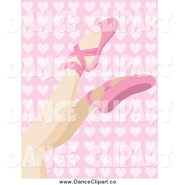 Art Of A White Woman S Legs In Pink Ballet Slippers Over A Pink Heart
