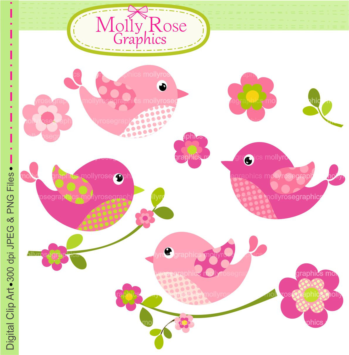 Birds Clip Art Digital Clip Art Birds And By Mollyrosegraphics