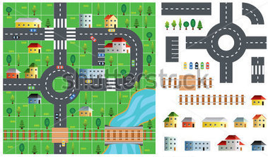 City Map Toolkit With Road Buildings And Trees Vector Illustration