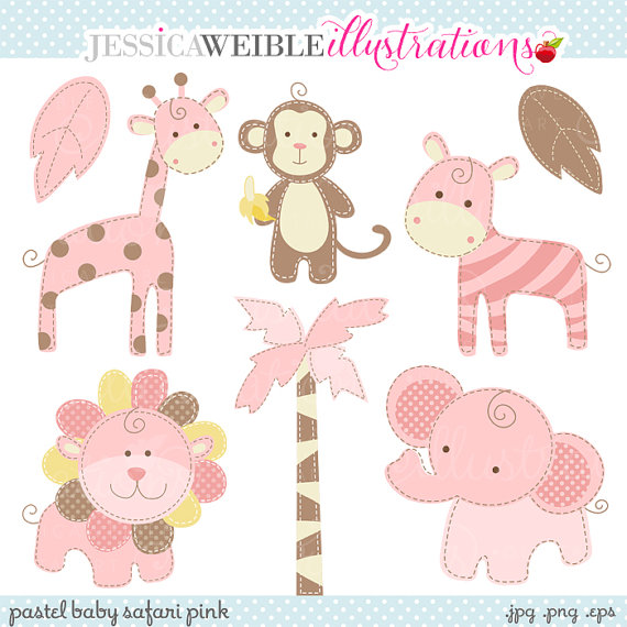 Clipart   Commercial Use Ok   Baby Safari Clipart   Pink Safari Animal