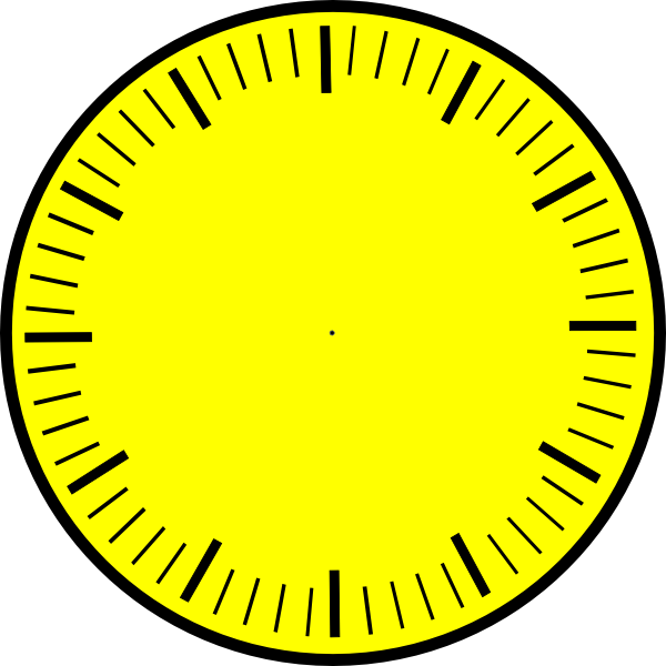 Clock Face  Yellow  Hour And Minute Marks No Hands Clip Art At Clker