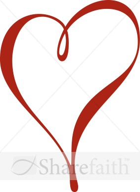 Contemporary Red Heart   Valentines Day Clipart