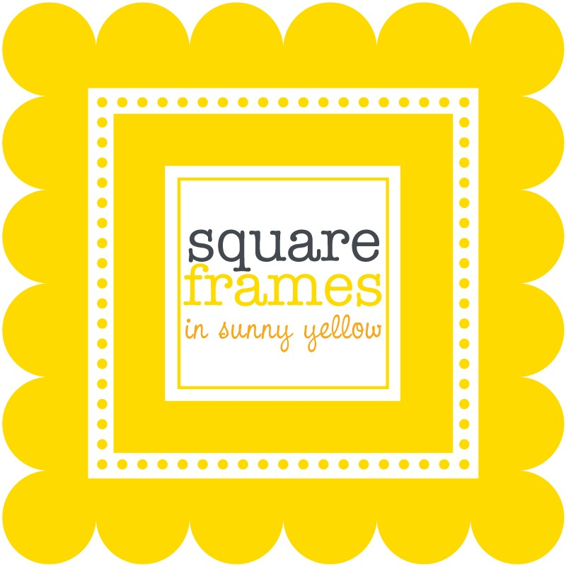 digital clip art square frames in sunny yellow by viveradesign