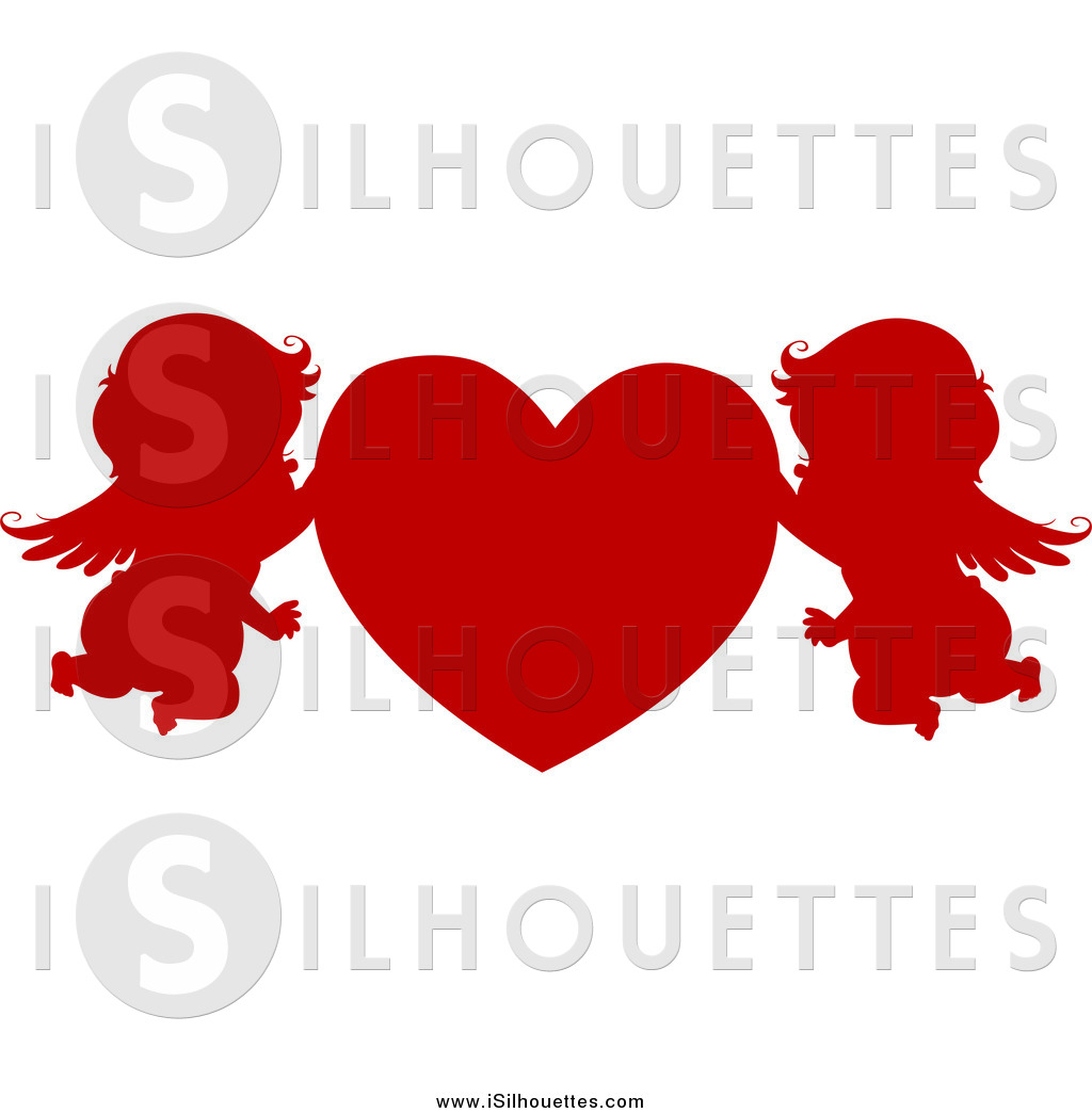 Heart Silhouetted Cupid Cupid Elephant Silhouetted And Red Heart