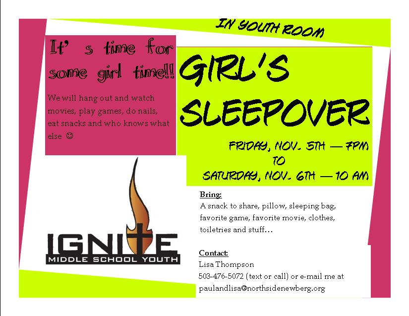 Ignite Middle School Youth  Girl S Sleepover
