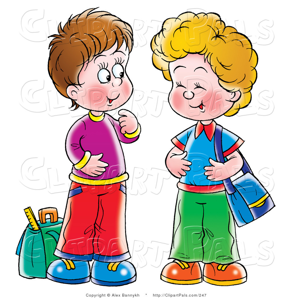 Larger Preview  Pal Clipart Of Two Little Boys Friends Laughing And