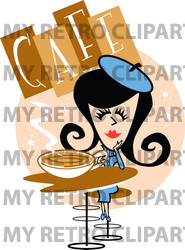 Rf  Clipart Illustration Of A Retro Woman Drinking Coffee In A Cafe