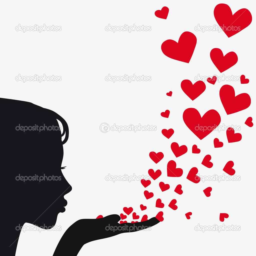 Silhouette Woman Blowing Heart   Stock Vector   Svetap  5597852