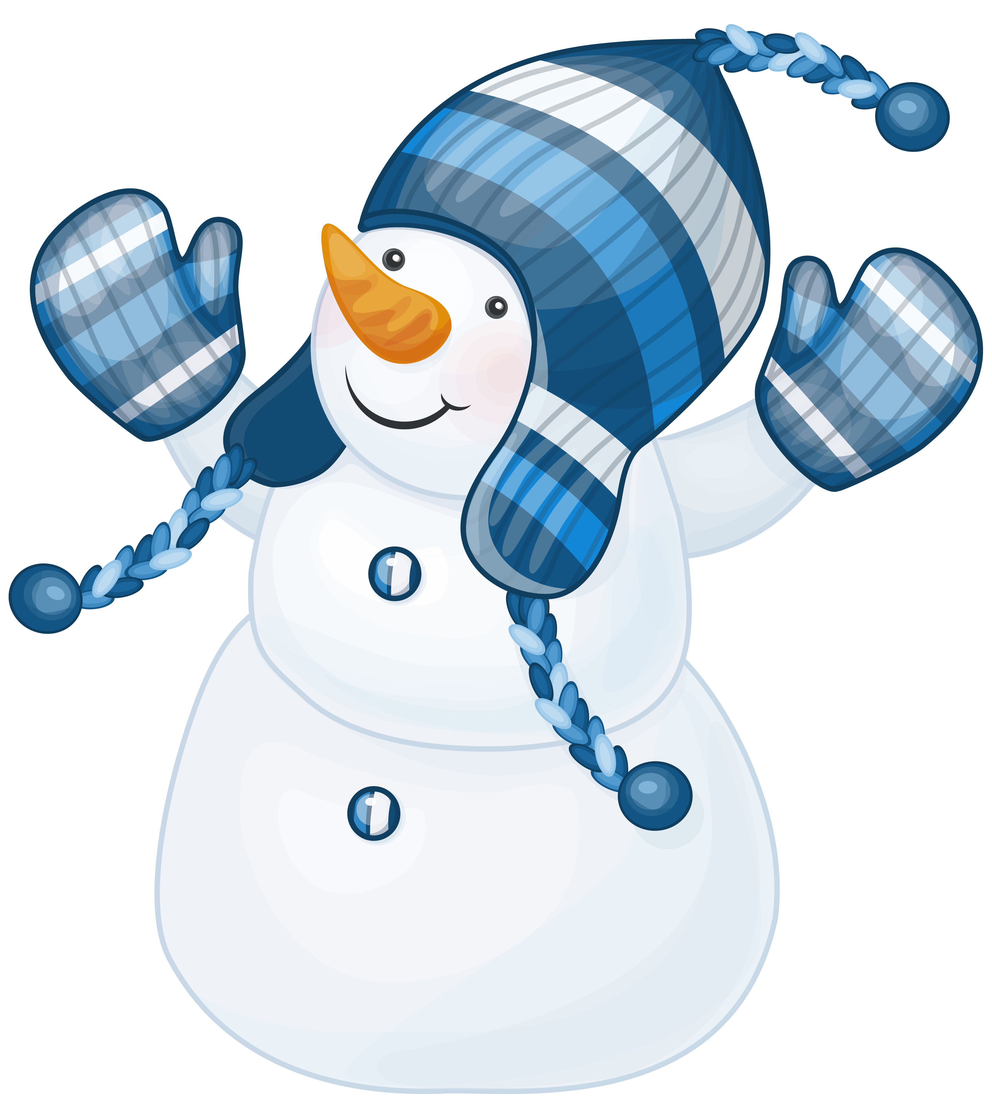 Snowman With Blue Hat Clipart