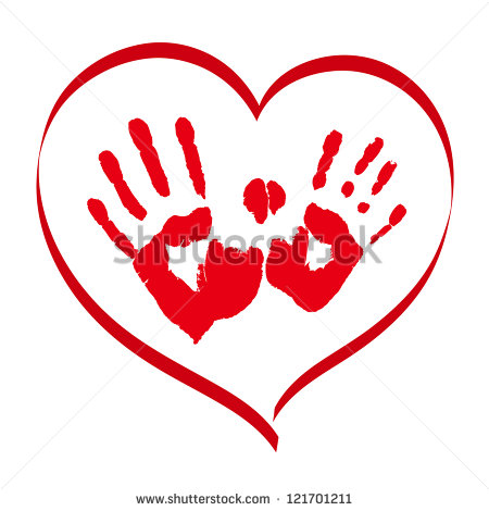 Stock Vector Man S And Woman S Red Handprints In A Heart On White