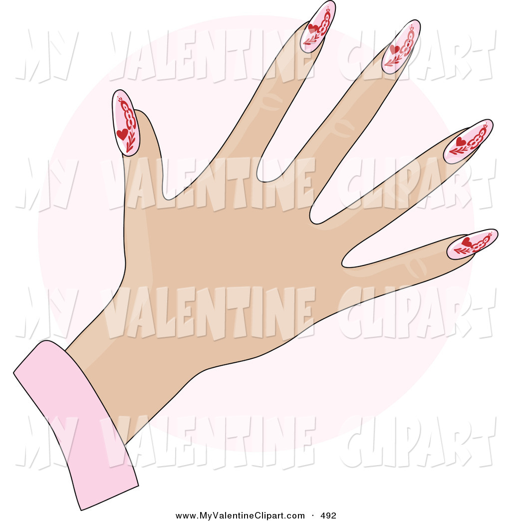 Valentine S Clipart Of A White Woman S Hand With Pink Gel Acrylic