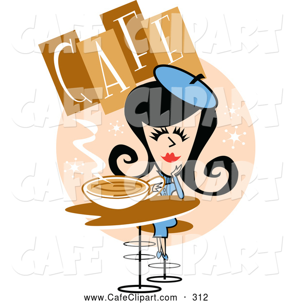 Vector Clip Art Of A Smiling Retro Woman Drinking Coffee In A Cafe By