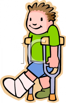 Boy With A Broken Leg In A Cast   Royalty Free Clipart Image